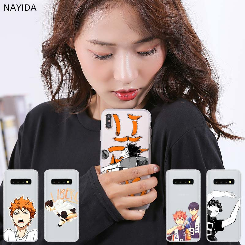 Pattern Soft TPU Silicone <font><b>Phone</b></font> <font><b>Case</b></font> Cover For <font><b>Samsung</b></font> Galaxy S6 S7 Edge S8 <font><b>S9</b></font> S10 <font><b>Plus</b></font> Note 10 8 9 pro Haikyuu <font><b>Anime</b></font> Fundas image