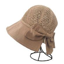 Шляпа женская Соломенная складная Пляжная Панама с бантом и