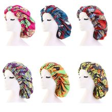 Womens Extra Large Double Layered Bonnet Satin Lined African Floral Print Night Cap Elastic Band Sleep Turban Chemo Hat