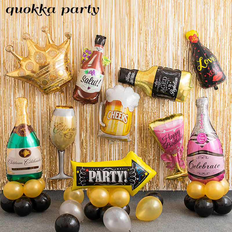 30th Birthday Golden Crown Champagne Glasses Whiskey Bottle Foil Balloon High School Party Decoration Metallic Party Balloons