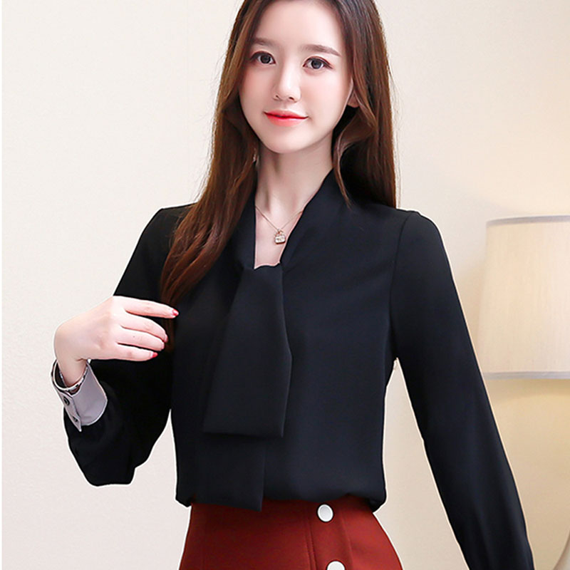 2020 Spring New Women's Plus size 2xl Long sleeve Solid Chiffon Blouse Korean Loose Lace up Long sleeve Shirt 0ffice lady Tops Herbal Products