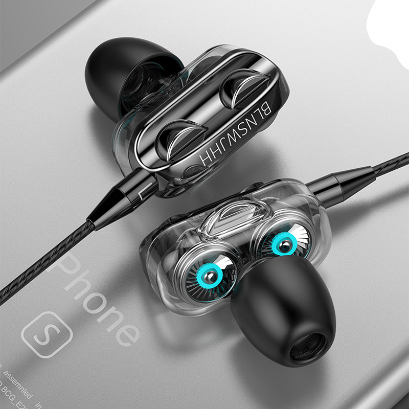 Olhveitra fones de ouvido com fio na orelha 3.5mm para o computador iphone samsung xiaomi dupla unidade estéreo esporte gamer fone handfree
