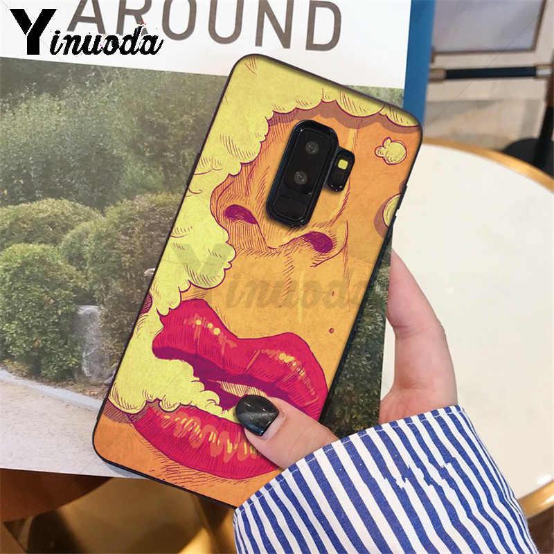 Yinuoda Seksi Kız kırmızı Dudaklar Öpücük Coque Kabuk Telefon samsung kılıfı S9 S9 artı S5 S6 S6edge S6plus S7 S7edge S8 s8plus