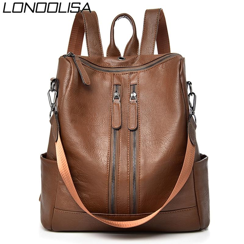 Double Zipper Women Backpack Mochila Shoulder Bags For Women 2020 Vintage Female Travel Backpack For Teenager Girls Bagpack