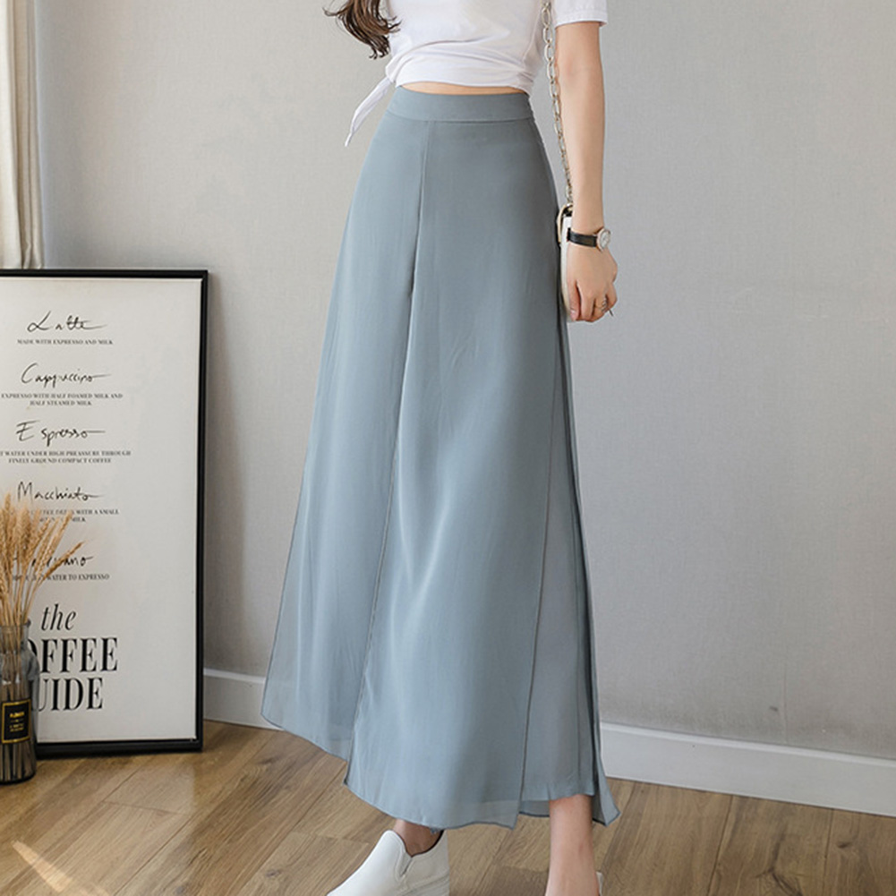 2020 Women Ice Silks Chiffon Wide-Legged Pants Summer Casual Loose Fake Two Piece Pants Skirt Fashion Light refreshing Pants