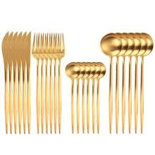 24pcs Gold Dinnerware Set Stainless Steel Tableware Set Knife Fork Spoon Flatware Set Cutlery Set Bright light