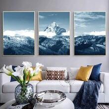 Скандинавское украшение для дома снег горы холст постер Скандинавия