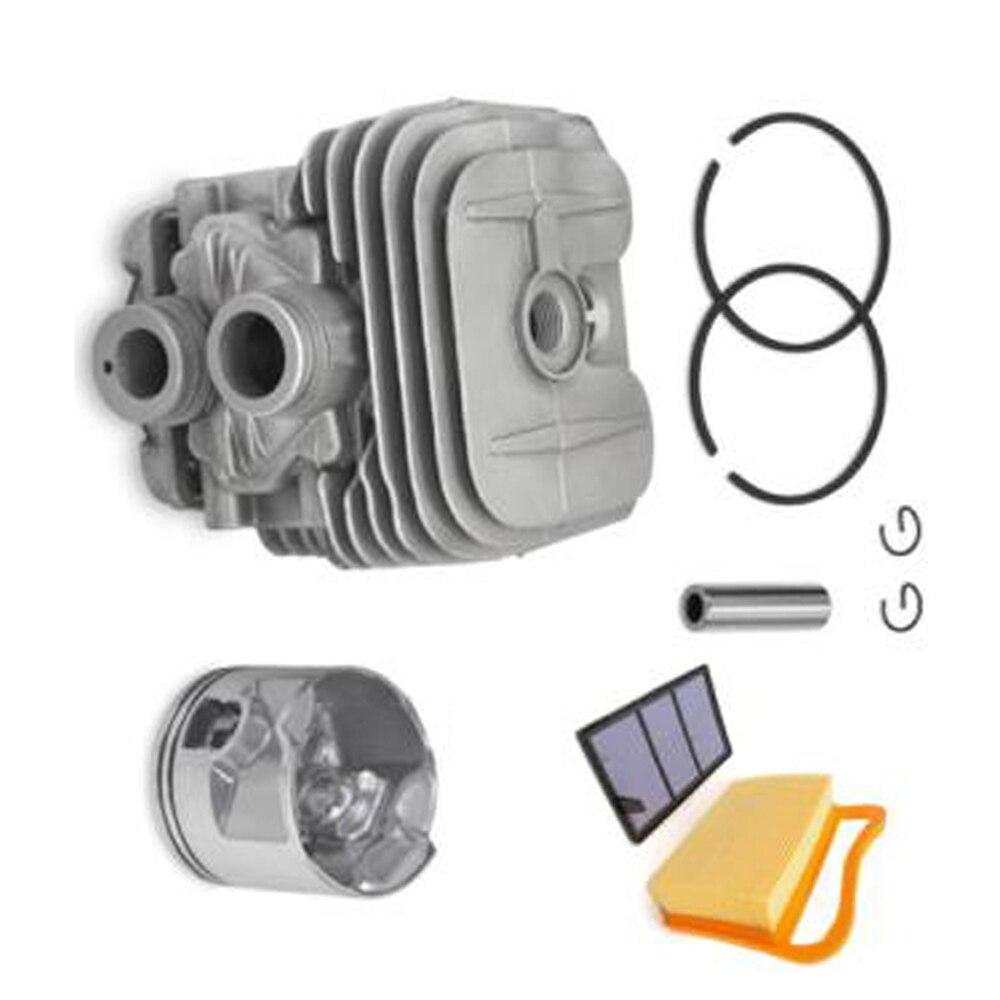 1 * culasse + 1 * Piston + 2 * segments de Piston + 2 * collier + 1 * filtre + 1 * filtre à Air pour Stihl TS410 TS420 Kit de Piston anneaux pinces à broches 50mm