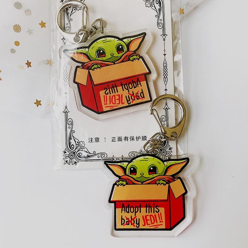 Cute Star Wars Baby Yoda Keychain The Rise Of Skywalker Keyring Men Women Fashion Anime Jewelry Key Chain Gift Toys