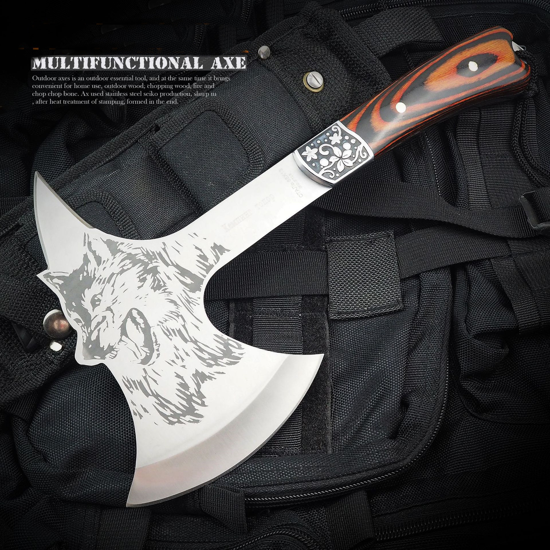 Camping Axe Wolf Head Print Steel Hawk Hatchet Knife Wooden Sheath Camping Hunting Survival Outdoor Tactical With Nylon Sheath