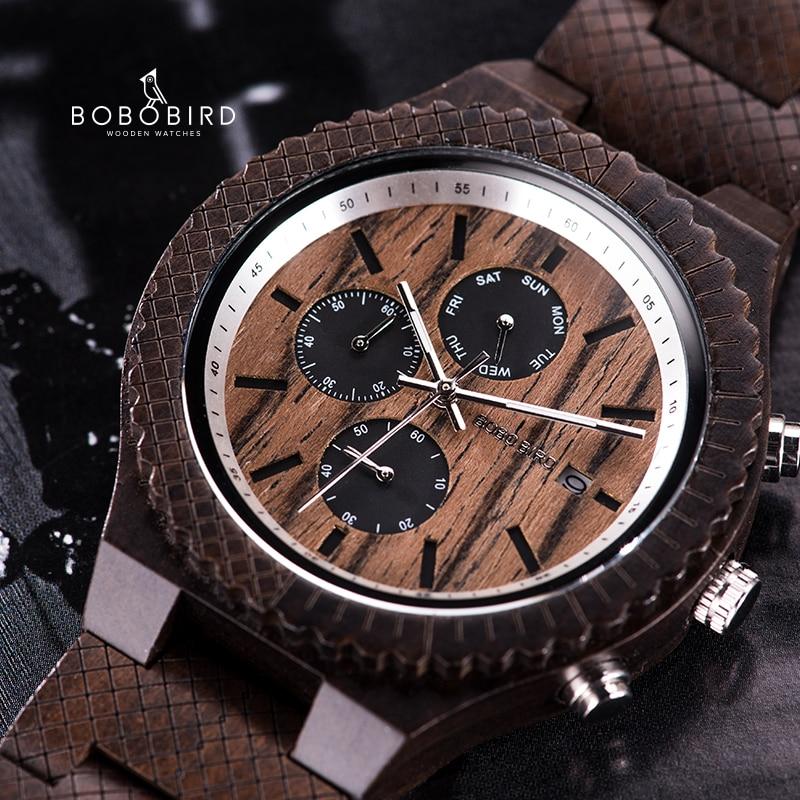 BOBO BIRD Wood Watch Men Quartz Wristwatch Stopwatch Chronograph Male Show Date Timepieces For Valentine's Day Gifts Customized