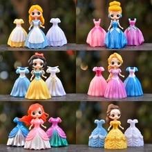 6 Style Princess Toys Dress Changeable Belle Ariel Mermaid Cinderella Snow White PVC Action Figures Collectible Dolls Kids Toys недорого