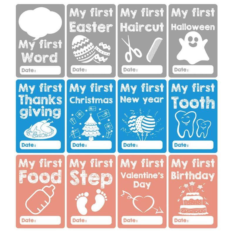 Baby Monthly Milestone Cards Photo Prop Age Cards Baby Shower Registry Gift