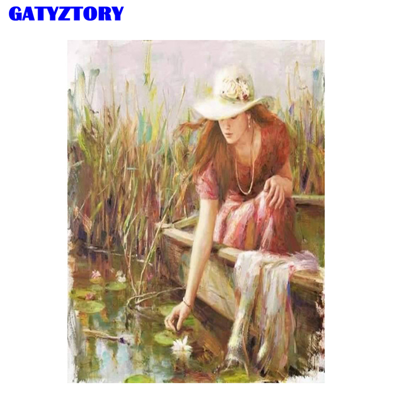 GATYZTORY FrameFigure Painting DIY Digital Painting By Numbers Kits Hand Painted Modern Wall Art Canvas Painting For Artwork