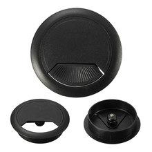 Стол проволочное отверстие втулка Крышка 60 мм ABS пластик стол кабель выход база мебельная фурнитура черный