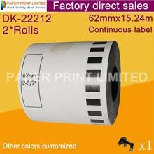2 Refill рулона Универсальный DK-22212 этикетка 62 мм* 15,24 м Непрерывная Совместимость для устройство для печатания этикеток белого цвета DK-2212 DK22212