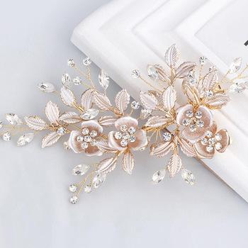 Trendy różowe złoto złoto srebro kwiat szpilka ślubne akcesoria do włosów ślubne nakrycie głowy ozdoby do włosów włosy ślubne biżuteria Handmade tanie i dobre opinie AiliBride Miedzi Moda Kryształ Spinki do włosów Kobiety Hairwear PLANT