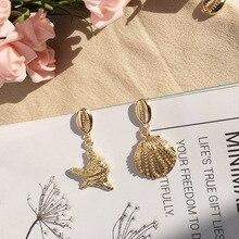 Korean Natural Shell Fashion Earrings Sweet Bohemian Stars Summer Conch Gold Sea Stud Earring Boho 2019 Dropshipping