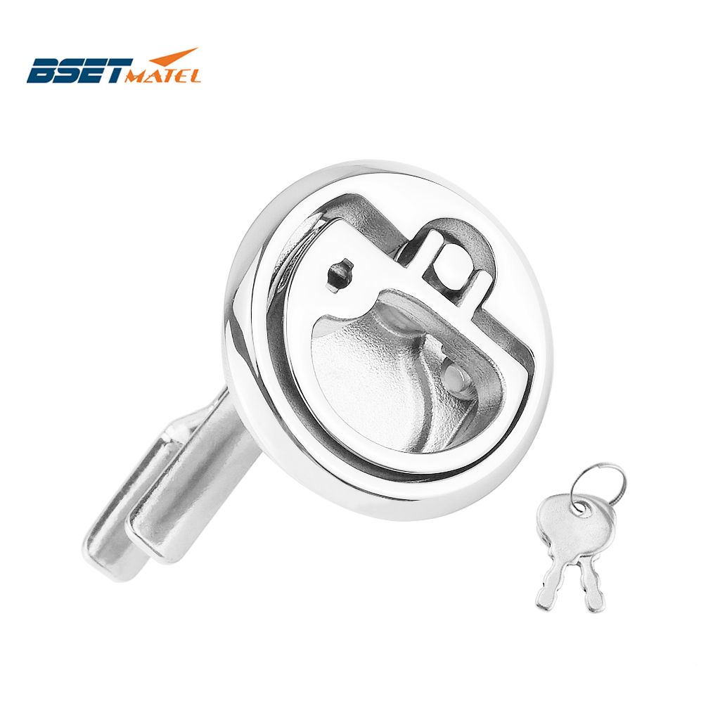 BSET MATEL Marine Grade Stainless Steel 316 Cam Latch Flush Pull Deck Latch Lift Handle With Key Boat Hardware Accessories