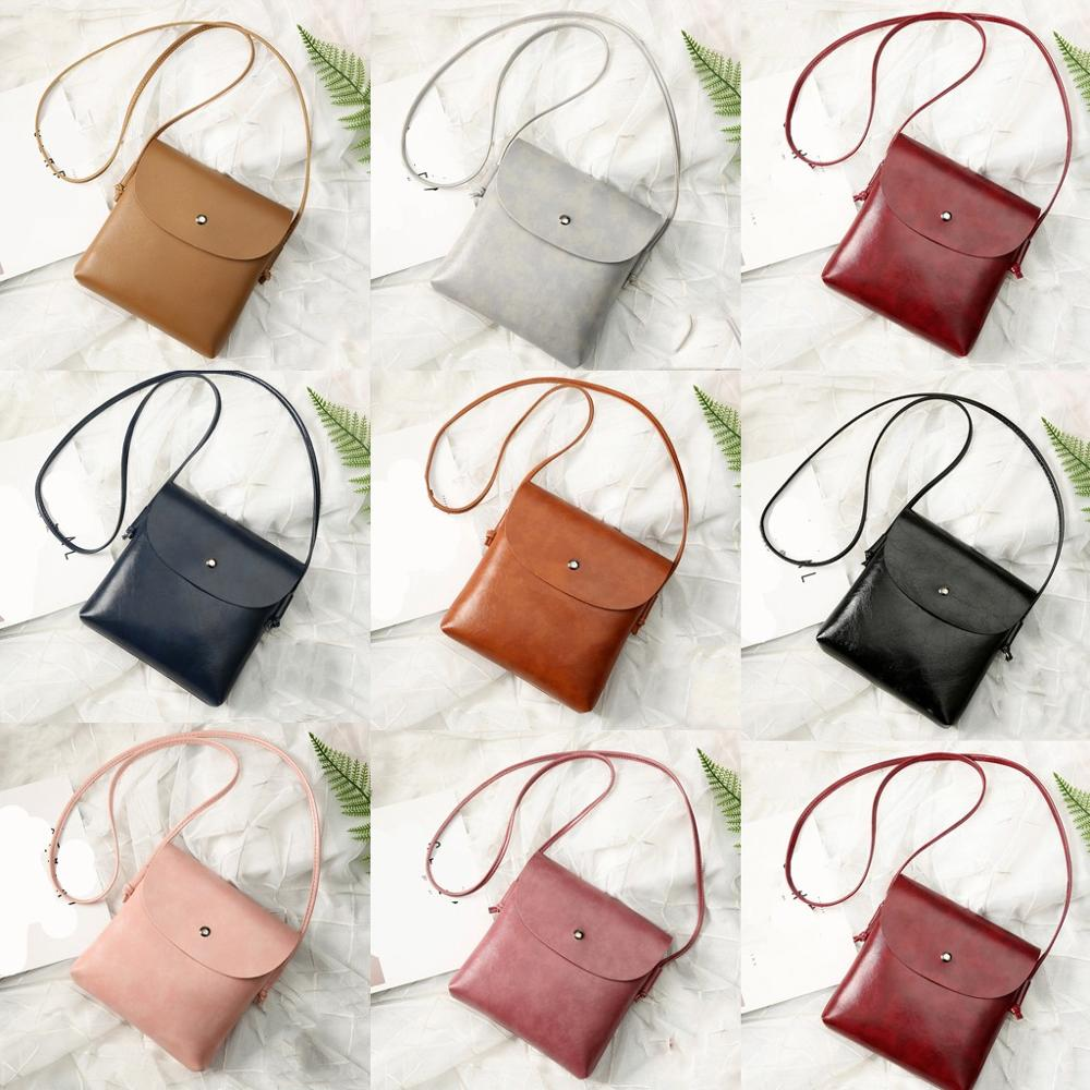 Leather Women's Bags Solid Color Leather Crossbody Ladies Small Shoulder Bags Ladies Mini Flap Bag Phone Coin Bags #15
