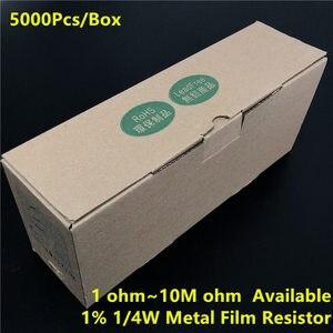 5000 ⑤ кор. (1 ~ 10 м Ом в наличии) 1/4 Вт металлический пленочный резистор 0,25 Вт 1% 1/10/100/1k/10k/100k/1M/4.7R/47R/470R/4,7 K/47K/470K/4,7 M