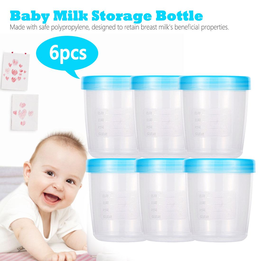 6pcs 180ml Breast Milk Storage Bottle Wide Neck Infant Newborn Fresh-keeping Cup Food Freezer Baby Food Supplement Box