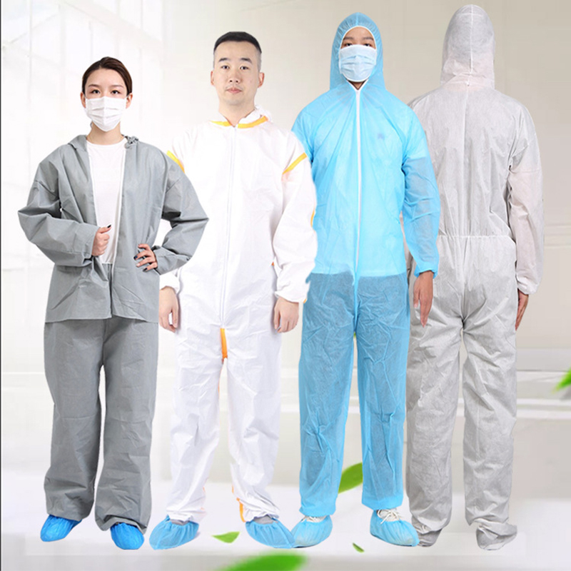 1pc Safety One Time Disposable Dust-proof Protective Coverall Anti-splash Anti-UV Clothes Overall Suit And KN95 Mask &glasses
