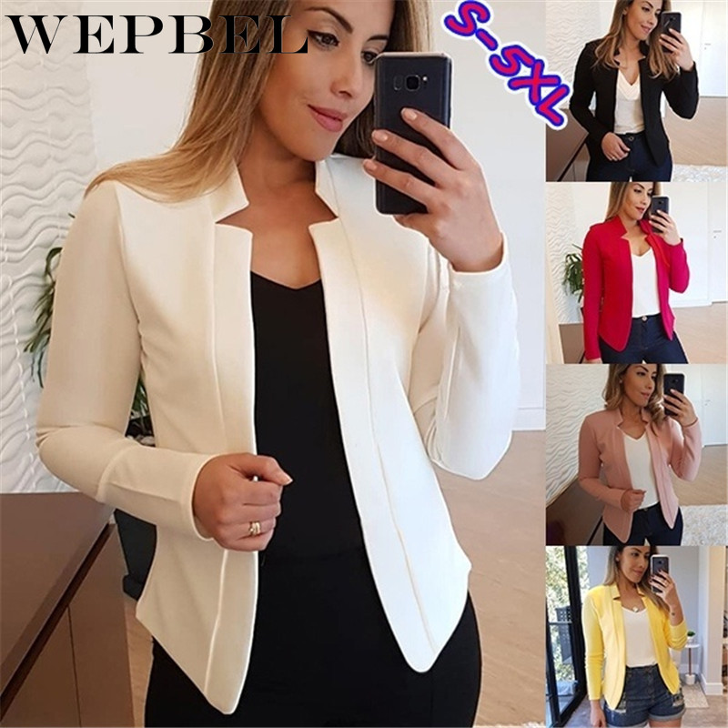 WEPBEL Women Thin Blazer Office Lady Lapel Long Sleeved Coat temperament Wrap Casual Jacket Tops S-5XL