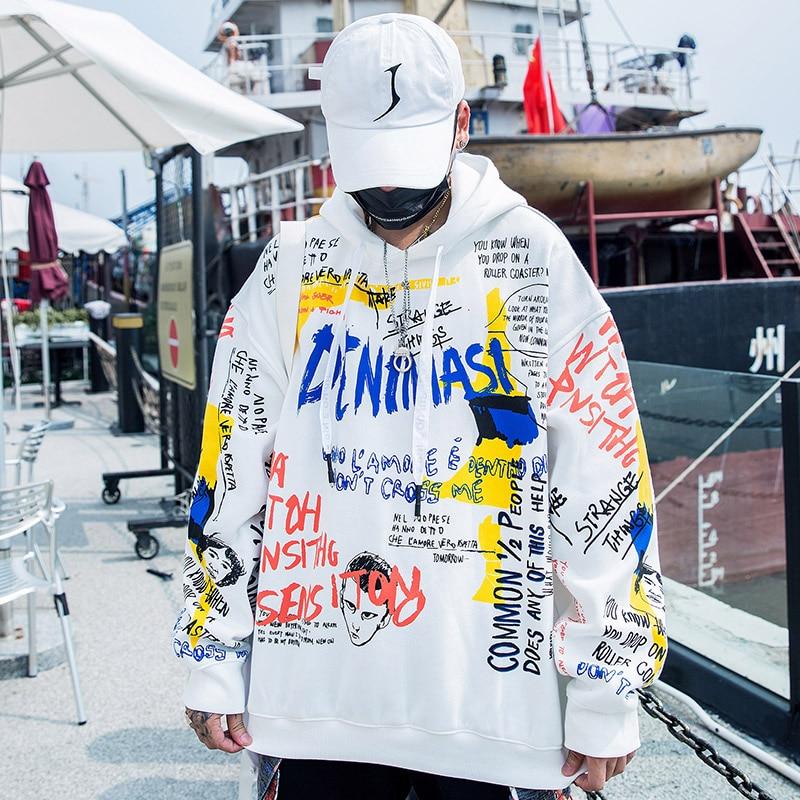 Image 5 - Mężczyźni graffiti hip hopowe bluzy z kapturem Harajuku Streetwear bluza z kapturem bawełna jesień zima 2019 drukuj graficzna bluza z kapturem czarna na