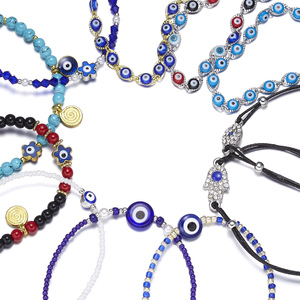Rinhoo Classic Trendy Turkish Evil Eye Bracelet Pave Lucky Blue Eye Charm Bracelet Adjustable Female Party Jewelry Gift Dropship