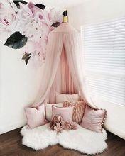 Algodão criança cama do bebê dossel mosquiteiro net cortina de cama redonda cúpula tenda princesa quarto tenda crianças decoração