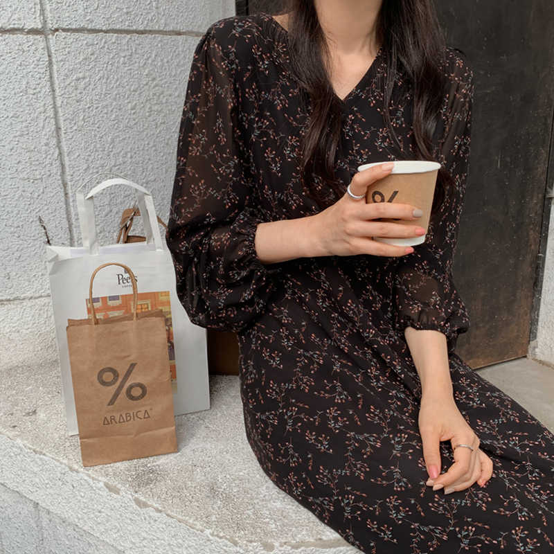 BGTEEVER خمر أزرار الخامس الرقبة الدانتيل متابعة الإناث فستان من الشيفون كامل الأكمام ميدي فستان أنيق غير رسمي الأزهار طباعة المرأة فستان 2020