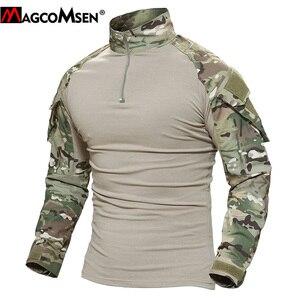 Image 4 - MAGCOMSEN camisetas tácticas de combate de camuflaje del ejército para hombre, camisetas militares de manga larga, Airsoft, Paintball, caza