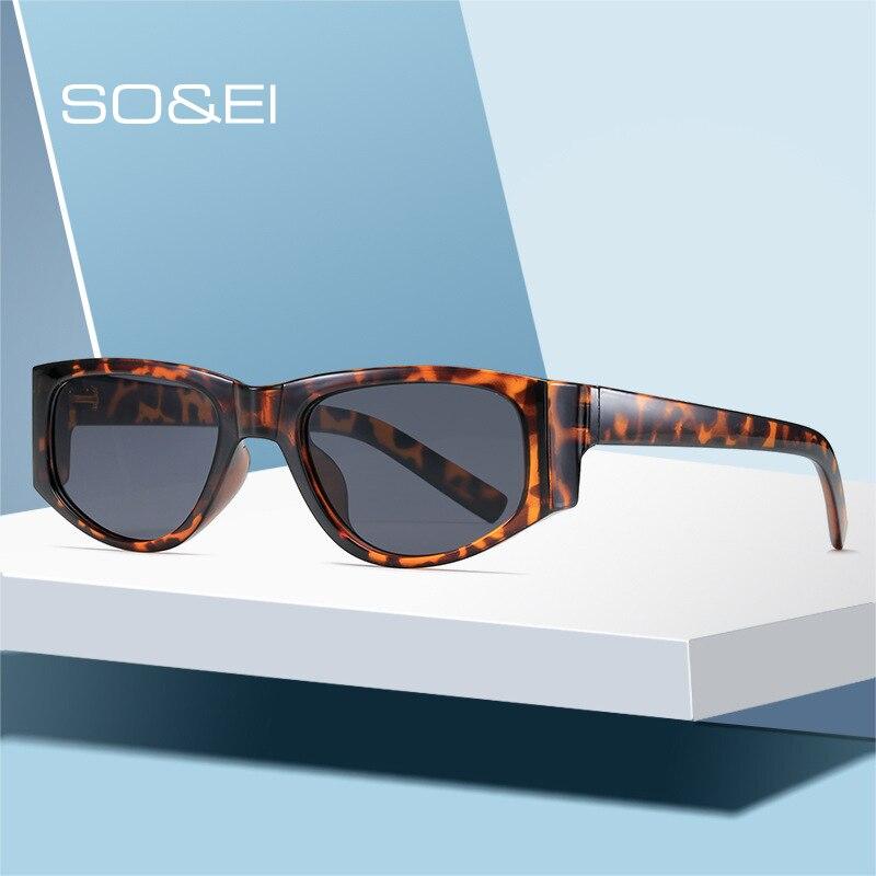 SO & EI Ins-gafas de sol con forma de ojo de gato para hombre y mujer, lentes de sol cuadradas, Estilo Vintage, rojo vino, verde, UV400