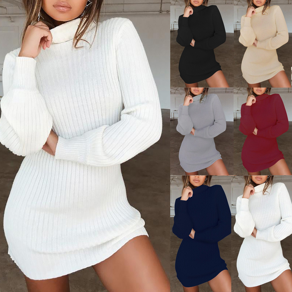 2019 Hotsale Autumn Winter O Neck Long Sleeve Solid Color Ladies Loose Casual Women Dress Lady Bodycon Robe Dresses