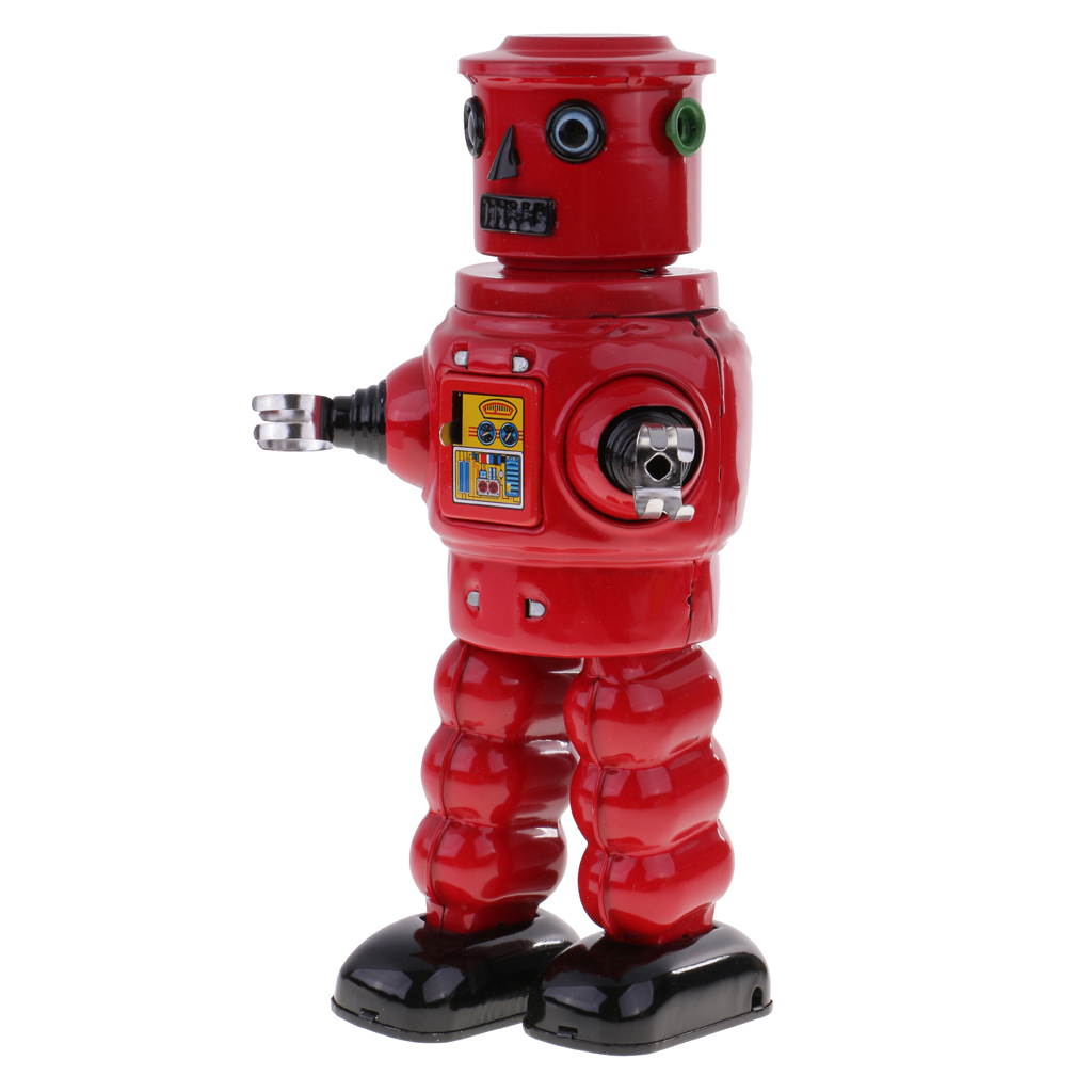 Red Wind Up Walking Roby Robot Clockwork Tin Toy with Key Collectible Gifts