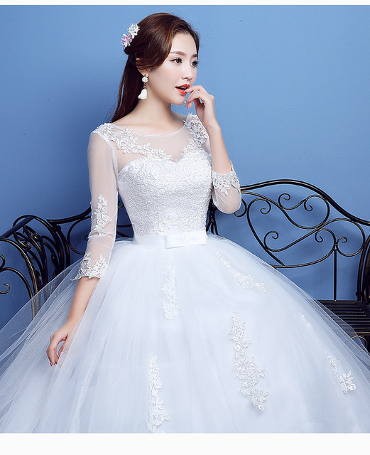 Fashion Lace Up Wedding Dress Bride Ball Gowns Wedding Dresses Half Sleeve Plus Size Princess Dresses Vestidos De Novia 1
