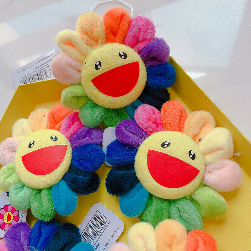 Pudcoco Flower Takashi Murakami Kiki Kaikai Brooch Rainbow Pin Badge Strap Plush Cute Toys New