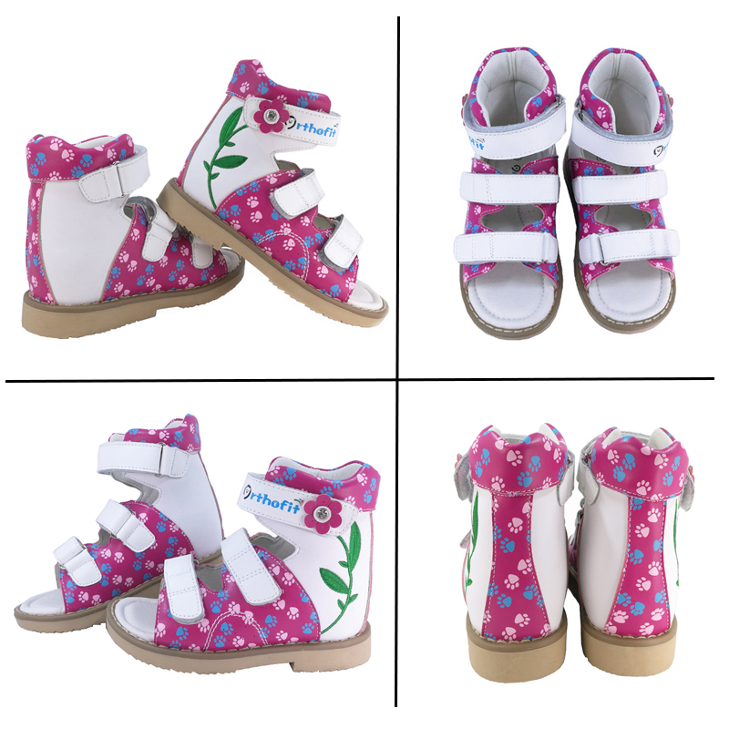 Kids Girls Summer Orthopedic Genuine Leather Sandals Children Fashionable Spring Summer Girls Embroidered Flowers Sole Shoes