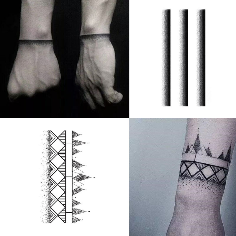 Black Armband Temporary Tattoo Sticker Waterproof Adult Men Women Arm Shoulder Fake Tattoos 13.5X7.5cm