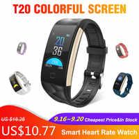 T20 écran coloré montre intelligente étanche Bracelet montre intelligente avec fréquence cardiaque et surveillance de la pression artérielle Smartwatch