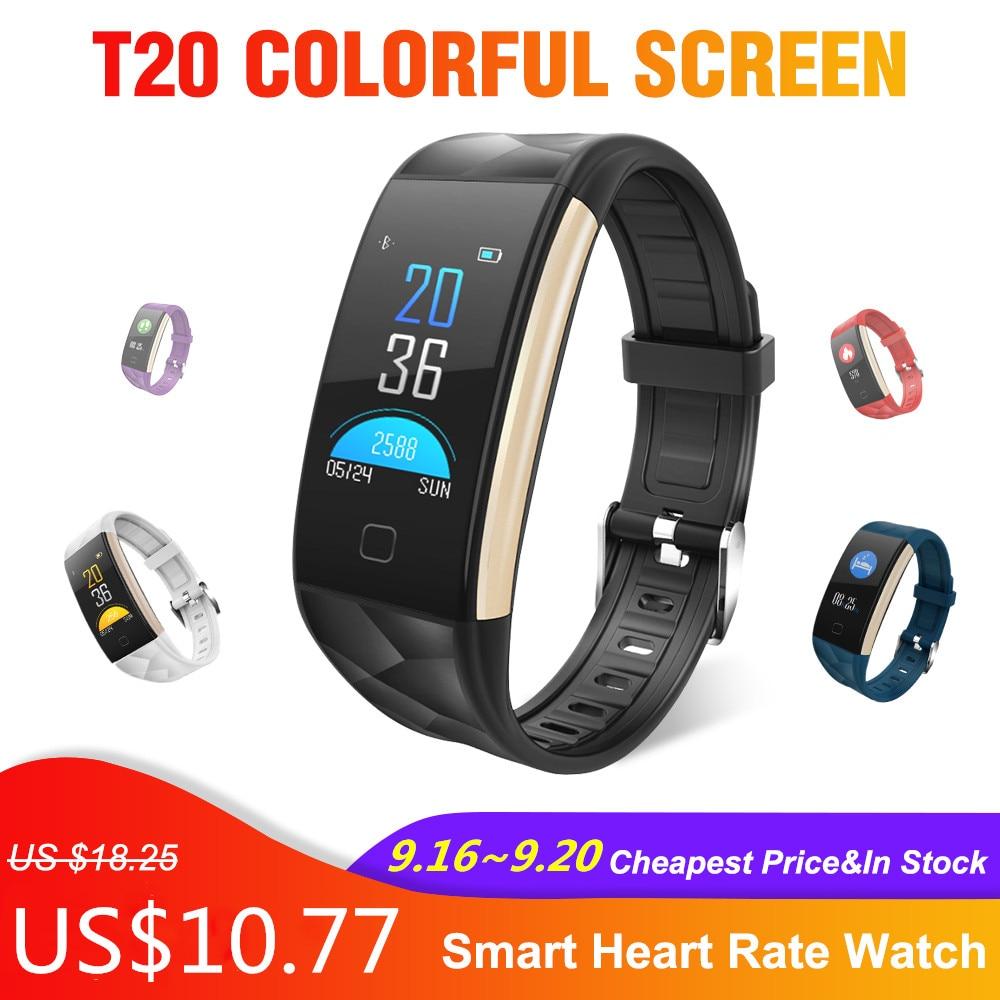 T20 Tela Colorida Relógio Inteligente À Prova D' Água Pulseira Smartwatch montre intelligente com Monitoramento da Frequência Cardíaca e da Pressão Arterial