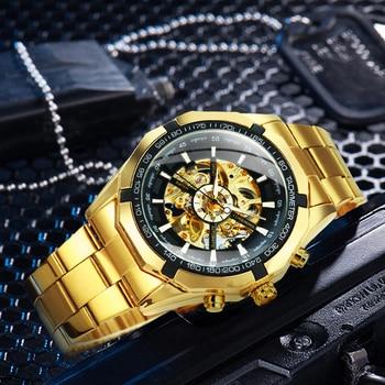 Winner Watch Men Skeleton Automatic Mechanical Watch Gold Skeleton Vintage Man Watch Mens Watches Top Brand Luxury часы мужские 3