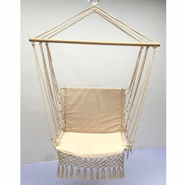 Nordic Style Home Garden Hanging Hammock Tassel Hammock Chair Outdoor Indoor Dormitory Swing Hanging Chair with Wooden Rod 5
