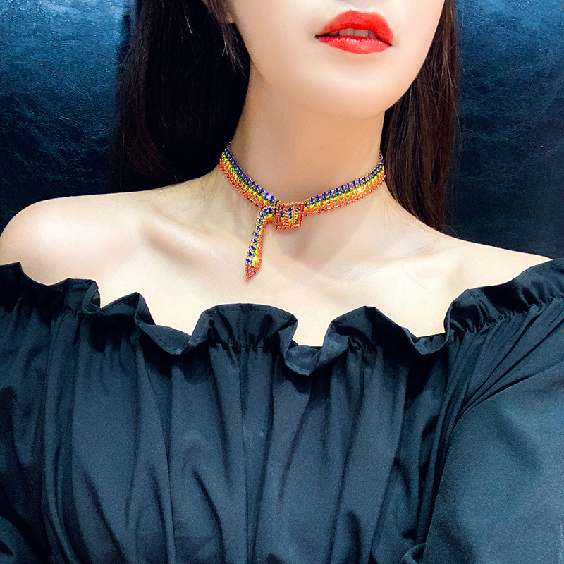 Fashion Personality Full Rhinestone Necklace Pendant For Women New Style Cubic Zirconia Colorful Hip Hop Female Choker Jewelry