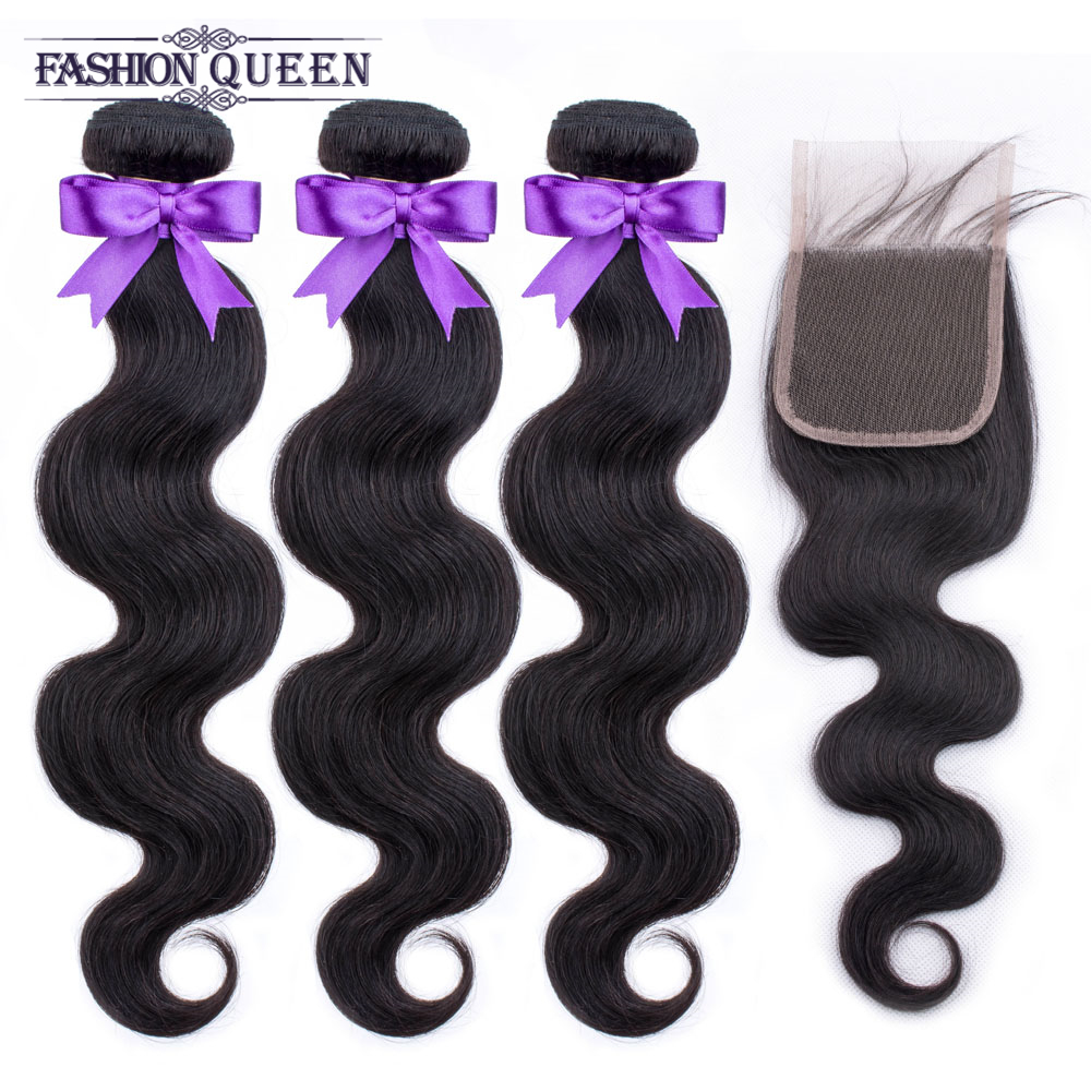 Brazilian Hair Weave Bundles 3 PCS Body Wave Human Hair Bundles With Closure With Baby Hair Non-remy Fashion Queen Natural Color