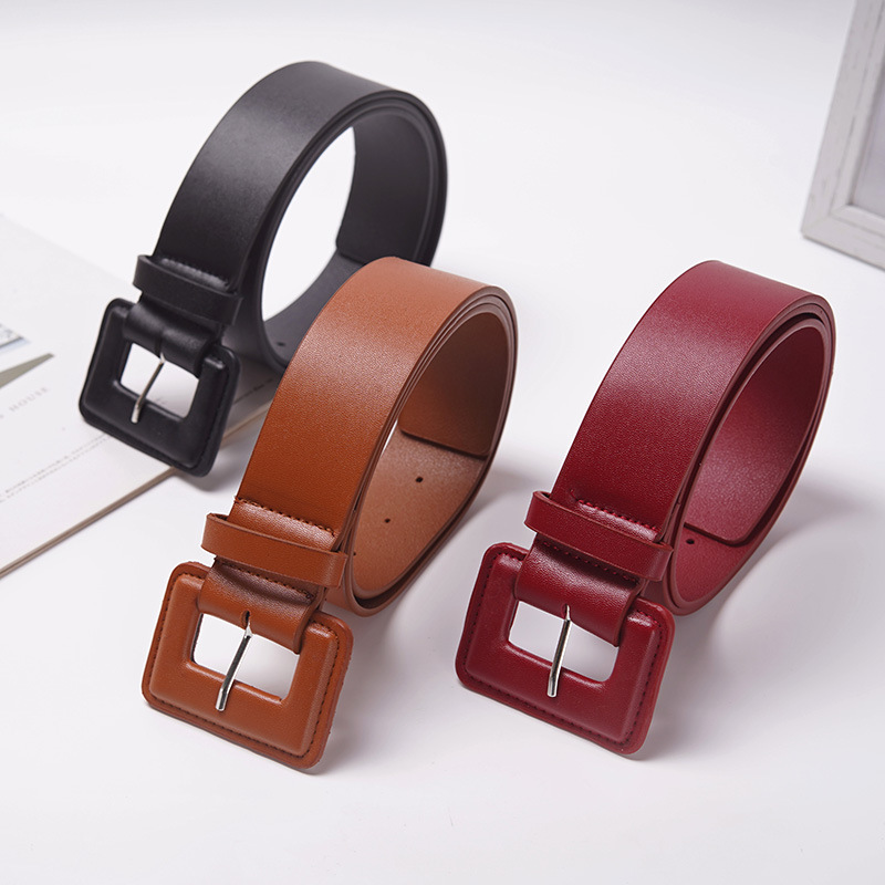 New Design Women Pu Leather Wide Belt Girls Needle-free Smooth Buckle Belts For Dress Decorate Waistband Solid Strap Belts