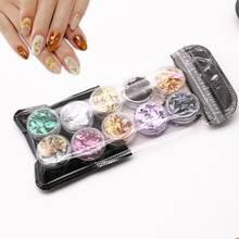Набор фольги для дизайна ногтей тонкая золотистая/Серебристая/цветная