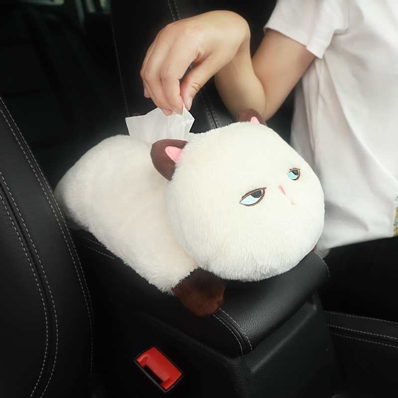 Cute Expression Meow Armrest Tissue Box High Quality Stuffed Cat Cartoon Paper Extraction Box Creative Car Mounted Chair Hanging