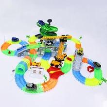 Voitures de course magiques avec lumières colorées, bricolage, rack de course en plastique, brille dans le noir, jouets créatifs cadeaux pour enfants